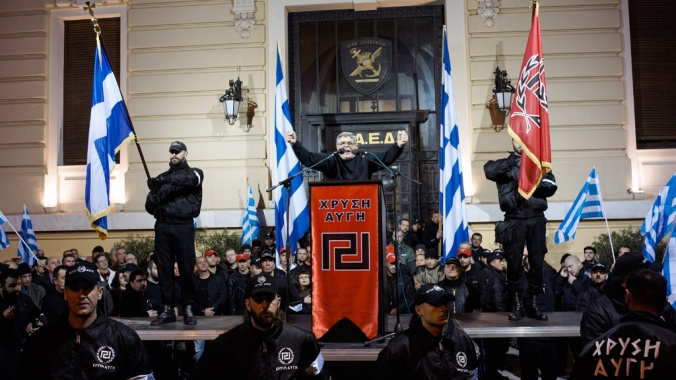 Golden Dawn Party Leader Nikolaos Mihaloliakos delivering a speech in Athens - 2013