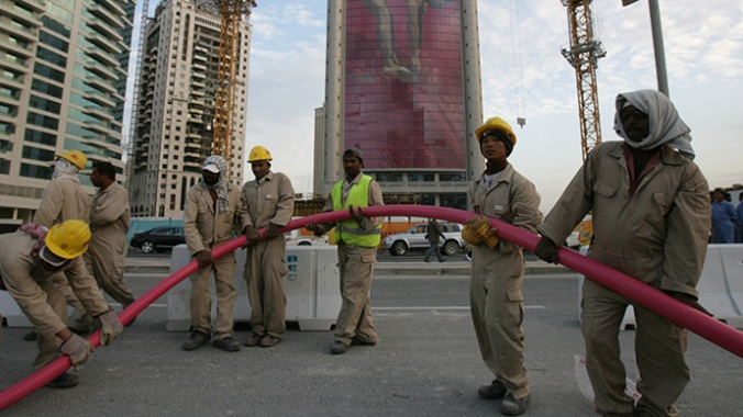 Migrant workers in Doha, Qatar
