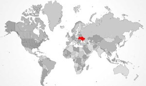World map of Ukraine