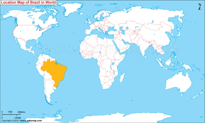 World map of Brazil