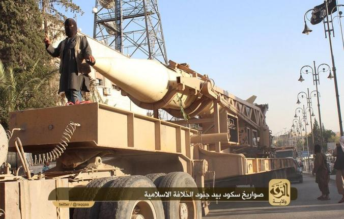 Islamic State Militants with a scud missile at a parade